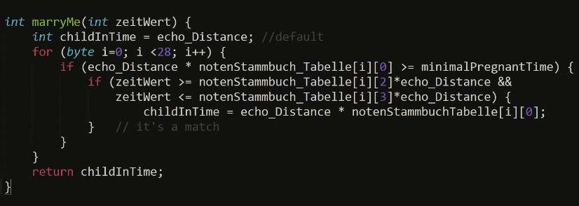 int marryMe(int zeitWert) { 						int childInTime = echo_Distance; //default     					for (byte i=0; i <28; i++) {         					if (echo_Distance * notenStammbuch_Tabelle[i][0] >= minimalPregnantTime) {             					if (zeitWert >= notenStammbuch_Tabelle[i][2]*echo_Distance &&                  					zeitWert <= notenStammbuch_Tabelle[i][3]*echo_Distance) {                     					childInTime = echo_Distance * notenStammbuchTabelle[i][0];              					}   // it's a match         					}	     					}     					return childInTime; 					}
